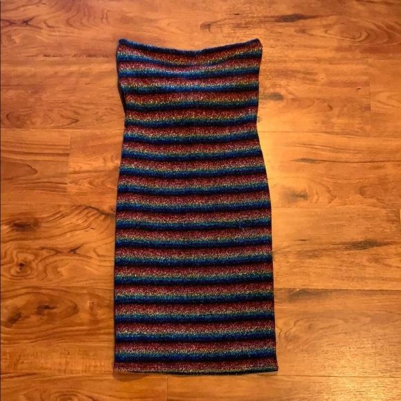 Topshop Dresses & Skirts - Striped metallic tube dress